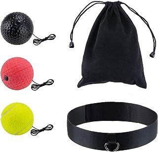 Locisne Ballon boxe réflexe,ensemble balles d'entraînement vitesse boxe avec bandeau adapté aux adultes/enfants Meilleur é...