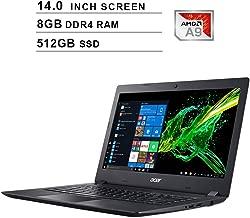 Acer Aspire 3 Newest 14-Inch Premium Laptop - AMD A9-9420e 1.8GHz up to 2.7GHz, AMD Radeon R5, 8GB DDR4 RAM, 512GB SSD, HDMI, WiFi, Bluetooth, Webcam, Windows 10 Home, Black