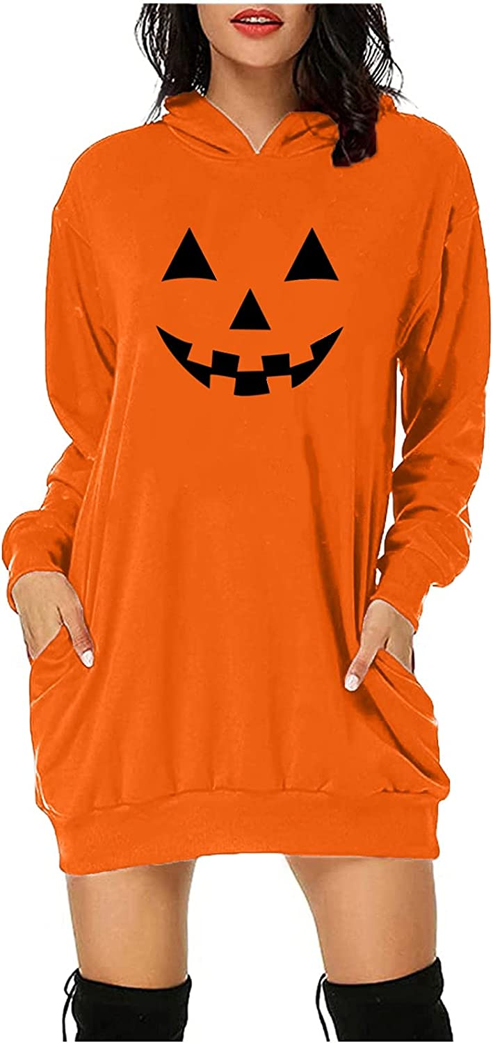 Tpingfe Club Outfits for Women Halloween Graphic Pullover Pattern Hoodie Long Sleeve Sweater Dress Trendy Jumper with Pocket