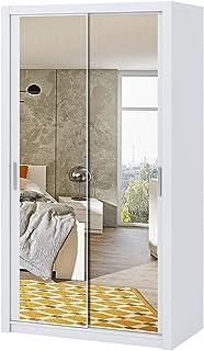 Selsey Rinker - Armoire Portes coulissantes - Blanc - 120 cm - avec Miroir