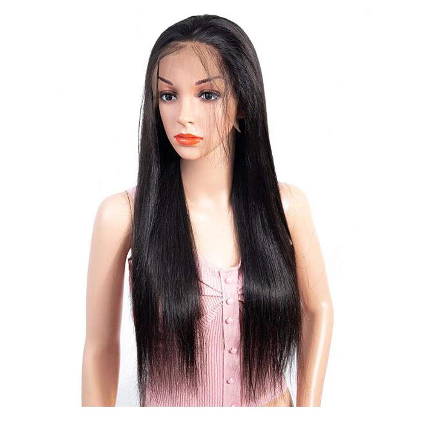 こするスリップシューズエスニックかつらストレートレース前頭人間の髪の毛の拡張子本物のブラジルのバージンヘアピース130%密度で赤ちゃんの髪ナチュラルブラックカラー,10inch
