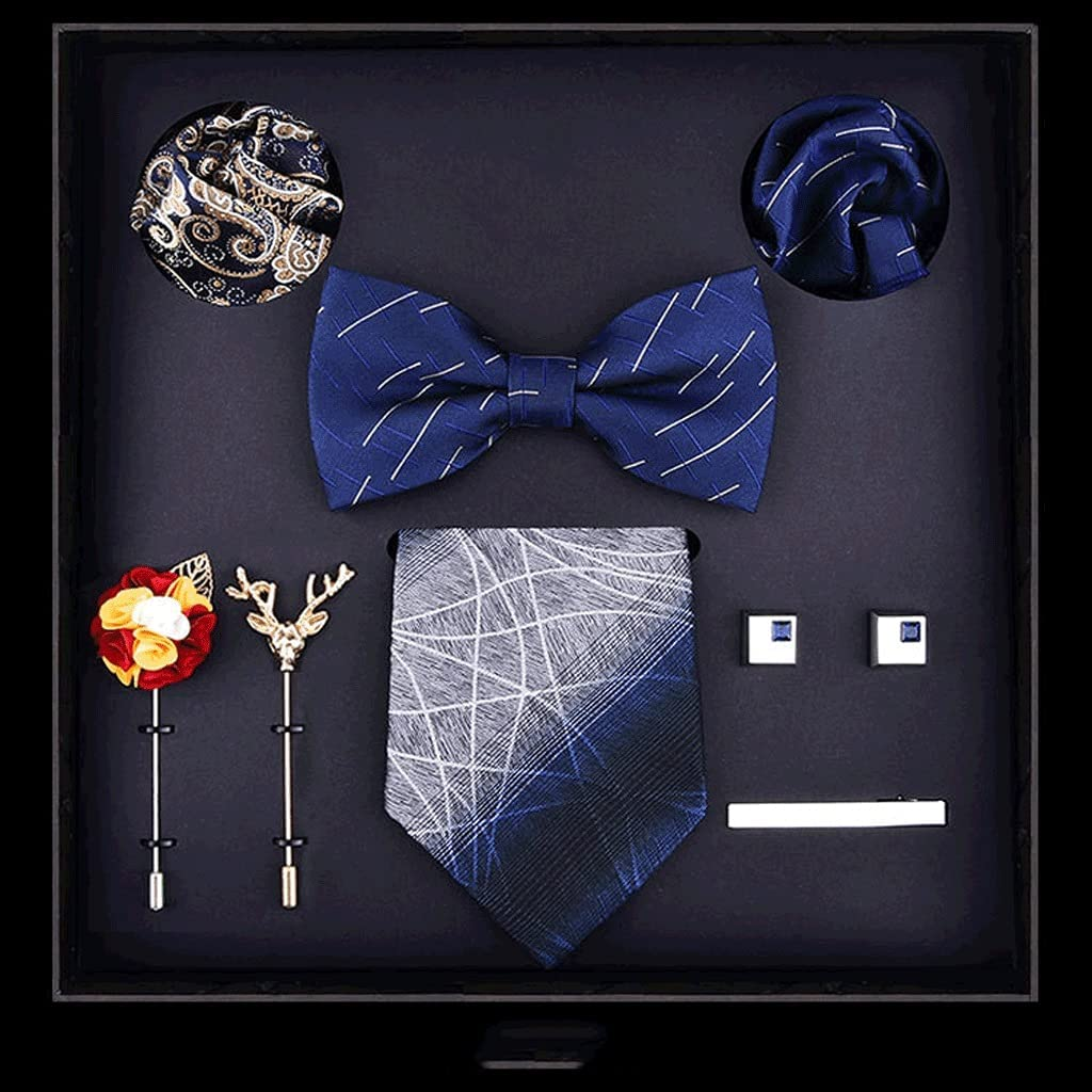 NJBYX Business Gift Suit Men's Business Formal Evening Party Casual Gift Tie and Tie 8-piece Suit Gift Set for Man in a Box Bowtie (Color : A)