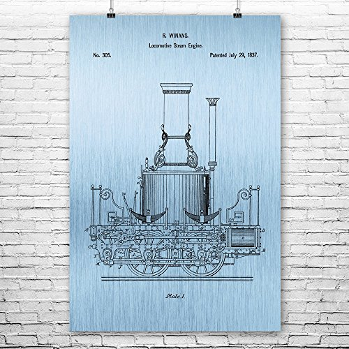 Patent Earth Steam Engine Train Poster Print, Conductor Gift, Train Blueprint, Train Station Art, Steampunk Decor, Engineering Art