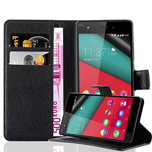 Cadorabo Hülle für WIKO Pulp 4G - Hülle in Phantom SCHWARZ – Handyhülle mit Kartenfach und Standfunktion - Case Cover Schutzhülle Etui Tasche Book Klapp Style