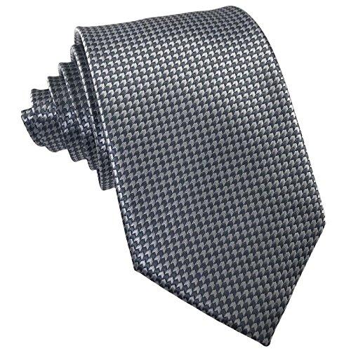 GASSANI Schmale Krawatte 8cm Fein Karierte   Karo Herrenkrawatte zum Sakko Anzug   Schlips Binder mit Hell-Graue Karos