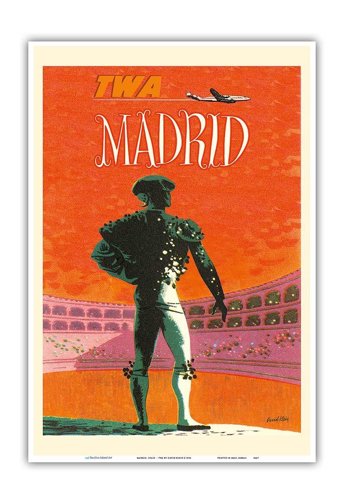 Pacifica Island Art Madrid, España-TWA (Trans World Airlines)-Cartel del Viaje del Vintage de la aerolínea por David Klein ca. 1954-Art Master Print-13inx19: Amazon.es: Hogar