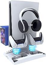 NexiGo Suporte vertical atualizado com ventoinhas de refrigeração para PS5 Disc & Digital Editions, carregador de dois con...