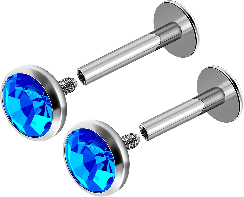 2Pcs Internally Threaded Steel 16g 6mm 8mm Labret Rings Piercing Jewelry Tragus Medusa Monroe Lip 4mm Crystal More Choices