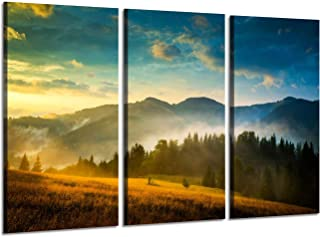 Nature Picture Landscapes Artwork Painting: Frosty Dawn in Mountain with Bloom Woods, Painting Print Multi-Piece Image (34
