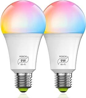 YOMYM Bombilla LED Inteligente WiFi Regulable 9W 800 Lm Lámpara, E27 Multicolor Bombilla Compatible con Alexa, Echo, Googl...