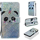 Case for iPhone Xr,Slim Durable PU Leather Sparkly Shock Proof Magnetic Luxury Wallet Case Card Holder Lightweight Bumper Strap Magnetic Closure Folding Case Compatible with Apple iPhone Xr -Panda