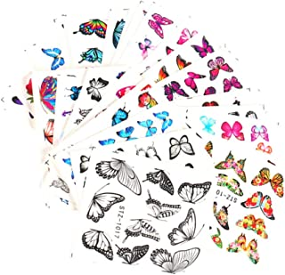 Tomaibaby 30PCS Butterfly Nail Decals Watermark Nail Decorative Stickers Self Adhesive Nail Insect Patch Paster for Women ...