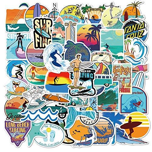 WYDML Pegatinas de Surf al Aire Libre, Pegatinas Impermeables de Surf de Playa Tropical Deportiva para Tabla de Surf, Pegatinas de monopatín para Coche, 50 Uds.