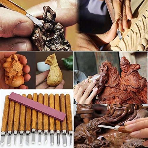 Outil de Gravure en Bois Couteau de Sculpture Lot de 12 Pièces