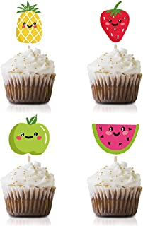 Tutti Fruit Cupcake Topper Picks, 24-Pack Tropical Summer Baby Shower Birthday Party Decorations