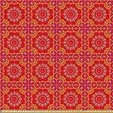ABAKUHAUS Red Mandala Stoff als Meterware, Orientalische