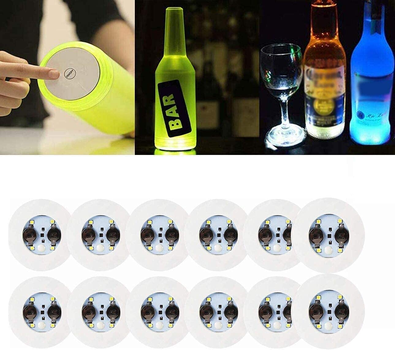 LOGUIDE LED Coaster,12 Pack Light Up Coasters,LED Bottle Lights,RGB Bottle Glorifier,LED Sticker Coaster Discs Light Up for Drinks,Flash Light Up Cup Coaster Flashing Shots Light (Cool-White)