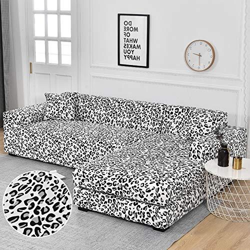 WXQY Funda de sofá Chaise Longue Funda de sofá de Sala de Estar Funda de sofá elástica Todo Incluido a Prueba de Polvo Funda de sofá en Forma de L A8 3 plazas