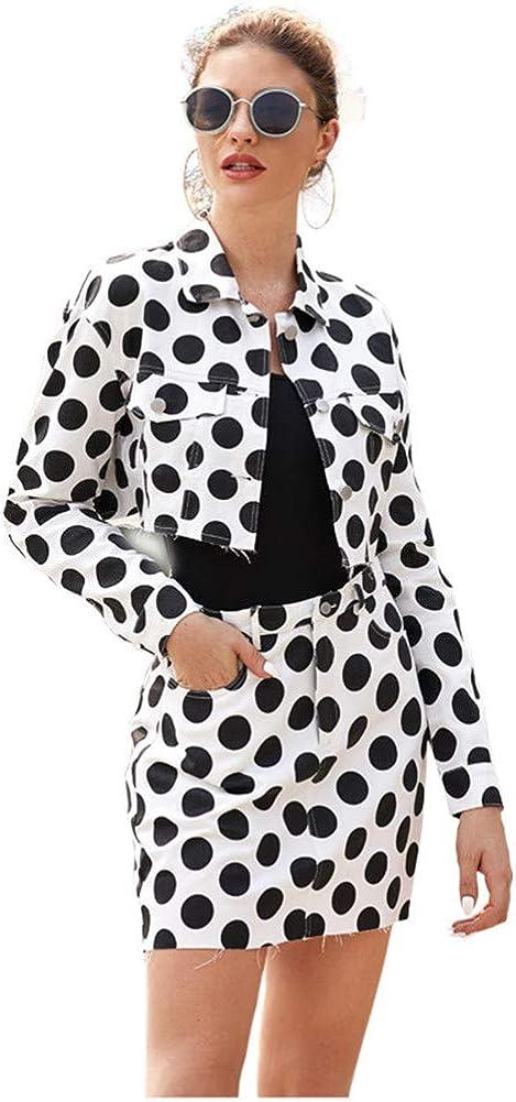 Women's Polka Dot Long Sleeve Wear to Work Office Pencil Dress Formal Office Business Work Jacket Skirt Suit Set