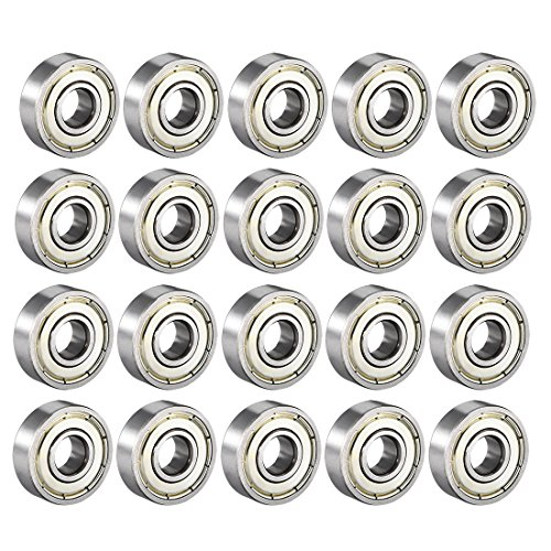 uxcell 608ZZ Deep Groove Ball Bearing Double Shield 608-2Z 80018, 8mm x 22mm x 7mm High Carbon Steel Z1 Bearings (Pack of 20)