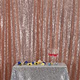 Eternal Beauty Rose Gold Sequin Wedding Backdrop Photography Background Party Curtain, 8Ft X 8Ft