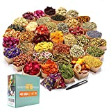 40 Bags Natural Dried Flowers Kit, Natural Dried Herbs with 2 Mesh Drawstring Bag for Soap,Candle,Resin Jewelry Making,Bath,Nail - Rose Petals,Rosebuds,Lilium,Jasmine,Don't Forget Me and More