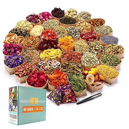 40 Bags Natural Dried Flowers Kit, Natural Dried Herbs with 2 Mesh Drawstring Bag for...