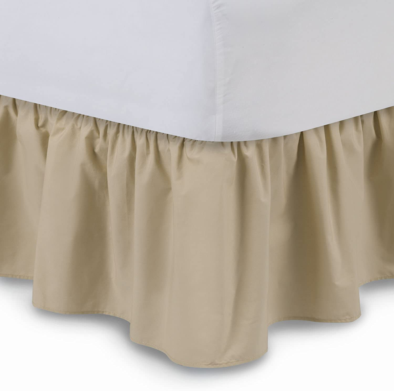 Ruffled Bed Skirt (King, Stone) 21 Inch Drop Bedskirt with Platform, Wrinkle and Fade Resistant - by Harmony Lane (Available in All Bed Sizes and 16 colors)