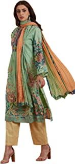 Round Neck Full Sleeve Long Printed Kurta With Trouser And Dupatta