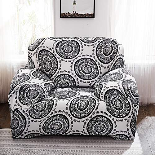 ASCV Funda de sofá elástica para Sala de Estar 3D Mandala de Flores étnicas Cojines Bohemios Fundas de Muebles de sillón Universal A3 1 Plaza