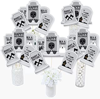 Big Dot of Happiness Graveyard Tombstones - Halloween Party Centerpiece Sticks - Table Toppers - Set of 15