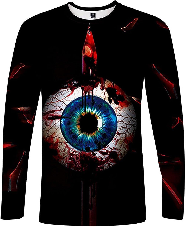 XUNFUN Mens Halloween Sweatshirts 3D Photo-Realistic Scary Graphic Printed Crewneck Long Sleeve T Shirts Jumpers Tops