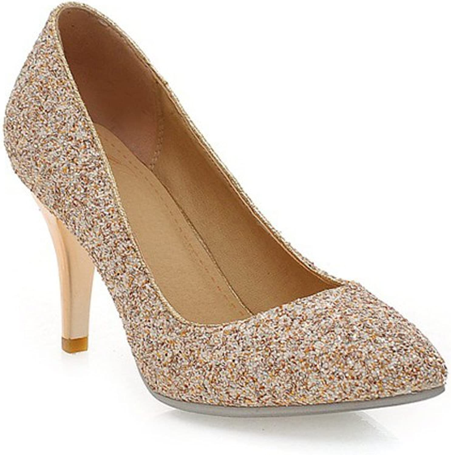 Lucksender Womens Sexy Pointed Toe High Heel Party Wedding Dress Pumps with Sparkling Sequins