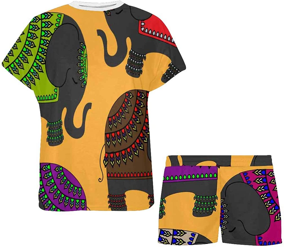 INTERESTPRINT Colorful Tribal Indian Elephant Women's Lightweight Pajama Set, Short Summer Pjs