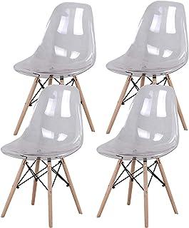 MUEBLES HOME - Juego de 4 sillas de comedor modernas de mediados de siglo, de plástico transparente, para comedor, dormitorio, sala de estar, color blanco