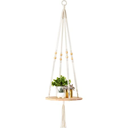 Wumedy Wooden Storage Board Flower Pot Rack Wall Shelf Home Decor with Hanging Rope Fire Pit /& Outdoor Fireplace Parts