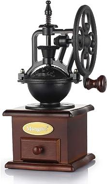 Manual Coffee Grinder, MONGDIO Wooden Vintage Cast Iron Classic Roller Grain Mill Hand Crank Coffee Grinder, Adjustable Ceram
