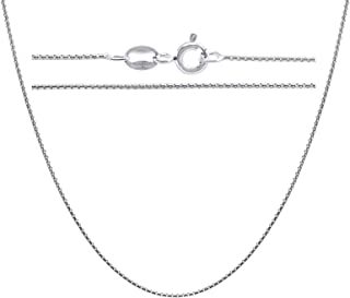 KEZEF Creations Rhodium Plated Sterling Silver 1mm Round Box Chain Necklace 30 inch