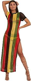 Clossy London 100% Egyptian Cotton Ladies Rasta Jamaican Work Work String Dress Multicoloured Hip Hop Dance Club Dress