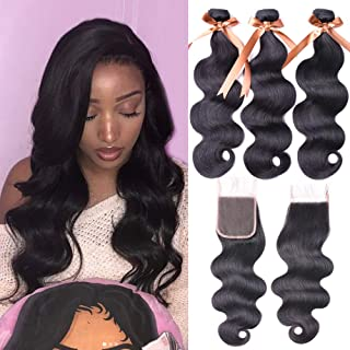Allrun Hair 7A Brazilian Body Wave 3 Bundles with Free Part Lace Closure 100% Unprocessed Human Hair Weave Extensions Bundles with 4×4 Closures (16 18 20+16