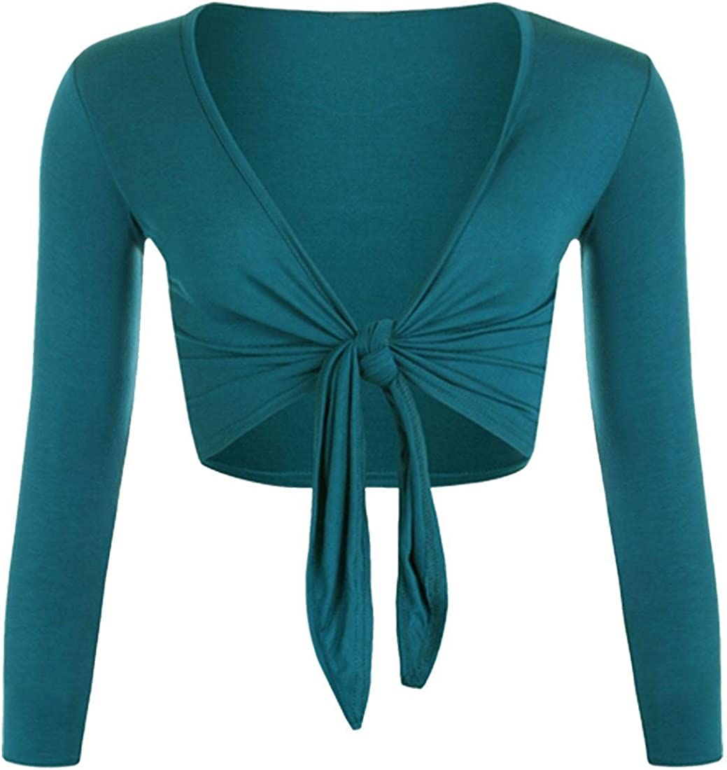 Miss High Street Women Plain Long Sleeves Front Tie Knot Shrug Stretchy Cardigan Top