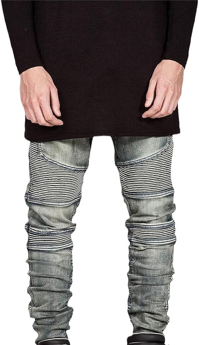 CACLSL Streetwear Men's Ripped Motorcycle Jeans Fashion Motorcycle Slim Fit Motorcycle Denim Trousers Jogging Pants