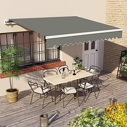 Greenbay 4 m x 3m DIY Patio Retractable Manual Awning Garden Sun Shade Canopy Grey with Fittings and...
