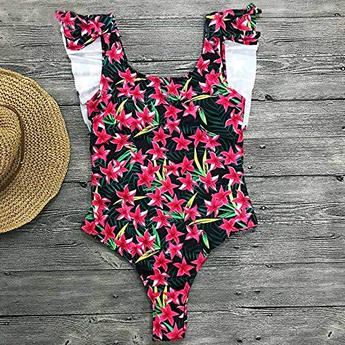 XUANYA badpak monokini badpak vrouwen terug uitsnijding ruches monokini zomer badmode badmode vintage zomer print