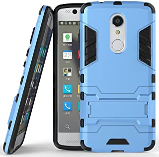 Case for ZTE Axon 7 Mini (5.2 inch) 2 in 1 Shockproof with Kickstand Feature Hybrid Dual Layer Armor Defender Protective Cover (Blue)