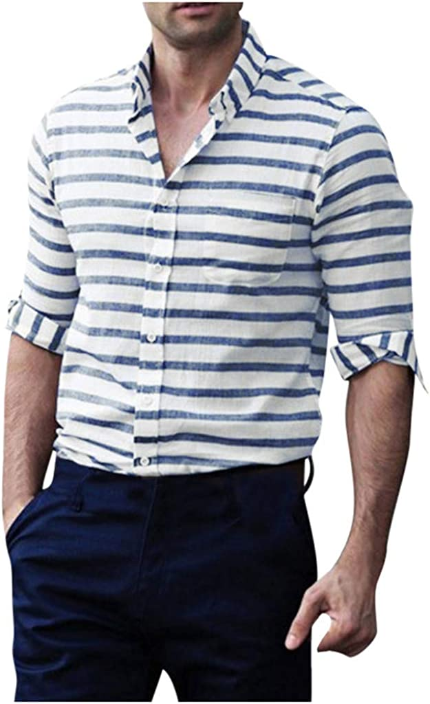 YAYUMI Men's Striped Slim Fit Shirt Button Lapel Long Sleeve Casual Pocket Top Autumn Winter Jacket