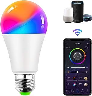 Bombilla Led Wifi Inteligente Alexa Regulable 9W E27 Bombilla LED Luz RGB Multicolor Bombilla Bombilla Cambio de Color Funciona con Alexa, Google Home y Smart Life App Control Remoto