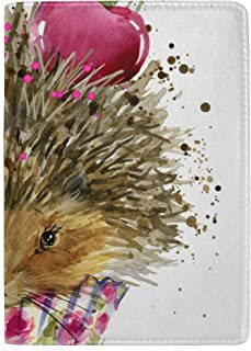 Hedgehogs and Cherries Blocking Print Passport Holder Cover Case Travel Luggage Passport Wallet Card Holder Made with Leather for Men Women Kids Family