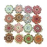 Changrongsheng 300 Pcs Botones de Madera Botones Redondos Botones Decorativos de Flores Botones Costura en Patrón de Mandala Botones para Coser Manualidades Tejer Bricolaje Decoración, 15 20 25 mm