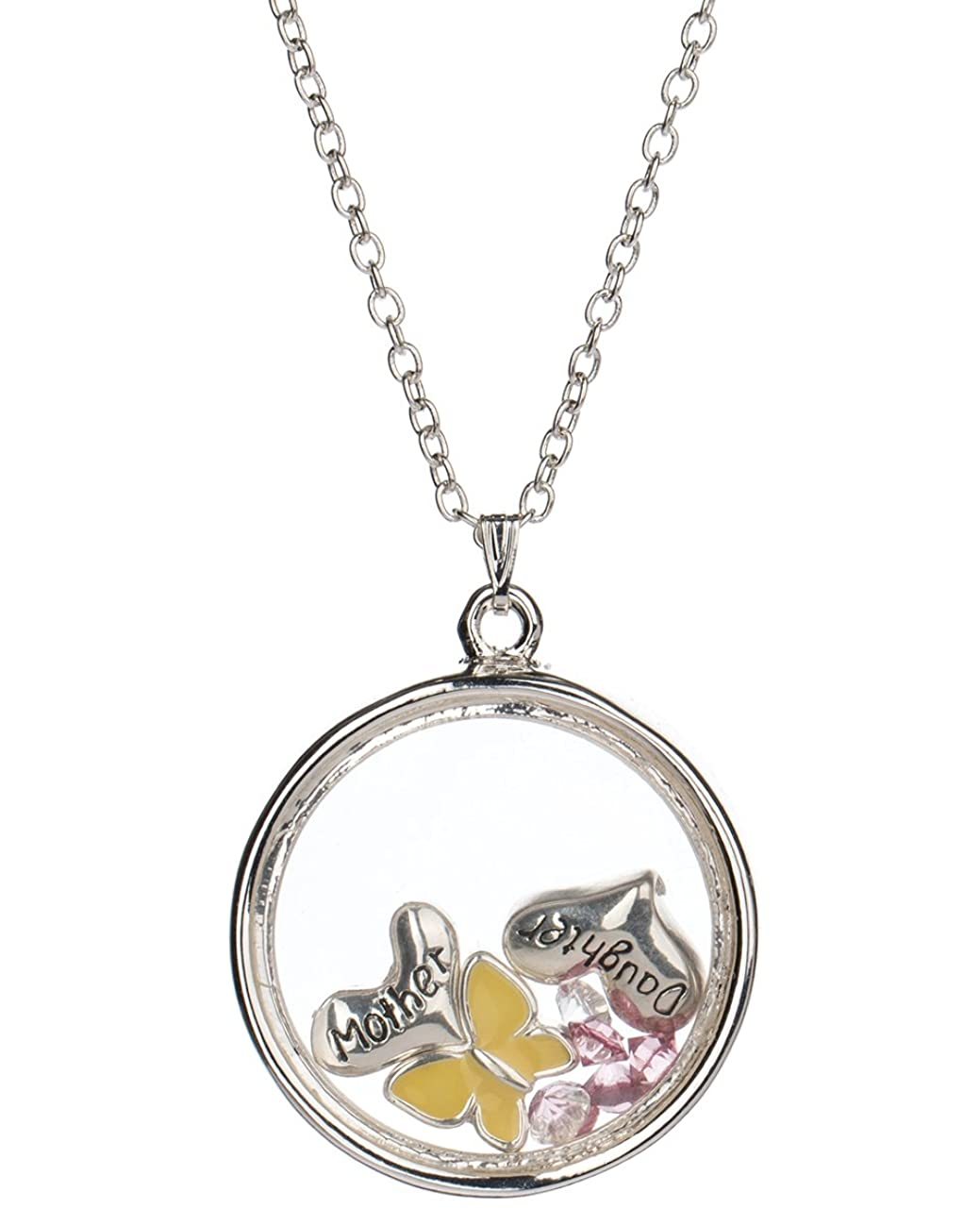 Jewelry Nexus Mother & Daughter Theme Heart & Yellow Butterfly Floating Charm Locket Necklace